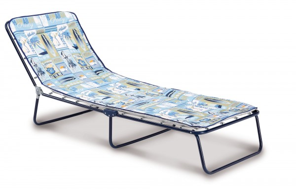 "Campingliege ""Toni"" blau gemustert 60x180x23cm Gartenliege Gartenmöbel Sonnenliege Klappliege"