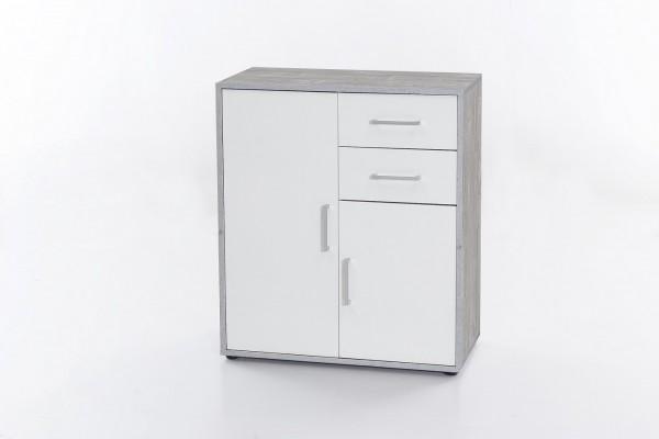 """Kommode """"Kelly"""", Beton/weiß, 73 x 85 x 37 cm, 2 Türen, 2 Schubladen"""
