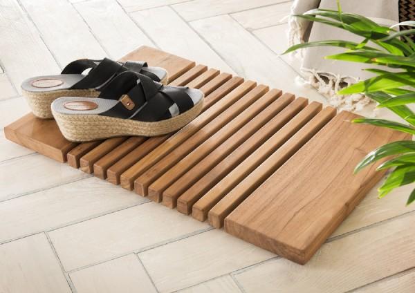 "Badmatte ""Trixy"", Teakholz, 56 x 36,5 x 2,5 cm, Badezimmermatte, Fußmatte, Badezimmer"