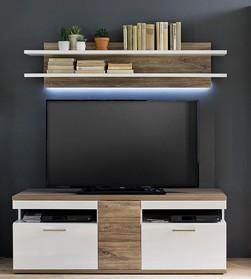 "Lowboard ""Loren"" Board, weiß hochglanz/ weiß matt, Absatz Sterling Oak, 150x55x50cm, TV-Schrank"
