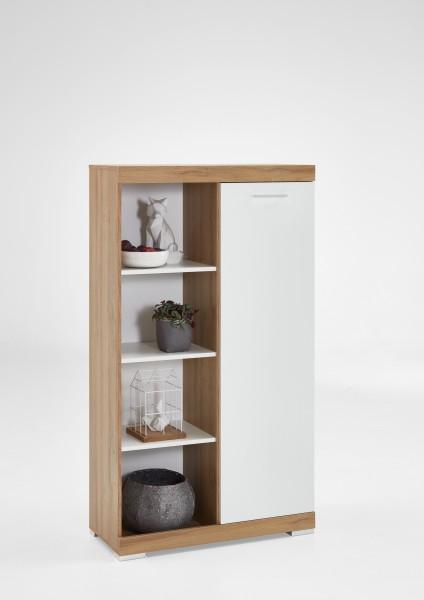 """Highboard """"Marta"""", 80 x 142 x 35,5 cm, Alteiche/weiß, Wohnzimmer, Kommode, Schrank"""