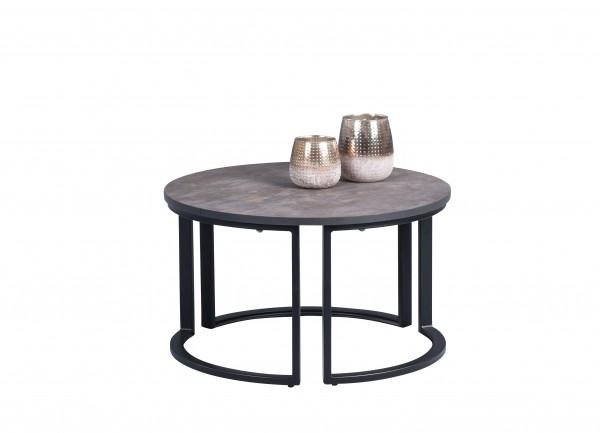 """Couchtisch """"Firat"""" rund H=36cm D=60cm Platte Rostoptik Gestell schwarz Wohnzimmertisch"""