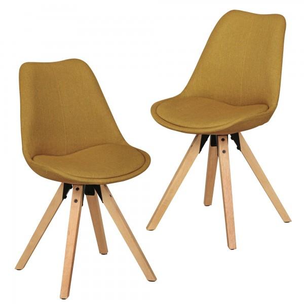 "2er Set Stuhl ""Sola V"" Holzstuhl Rubberwood 48x89x42cm Küchenstuhl Esszimmerstuhl"