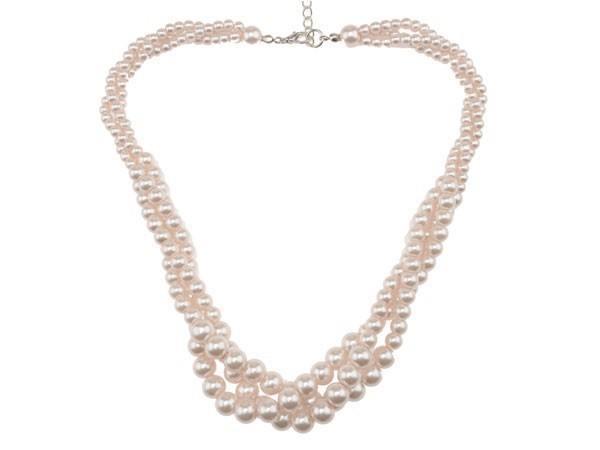 Perlenkette 3-reihig perlmuttfarben
