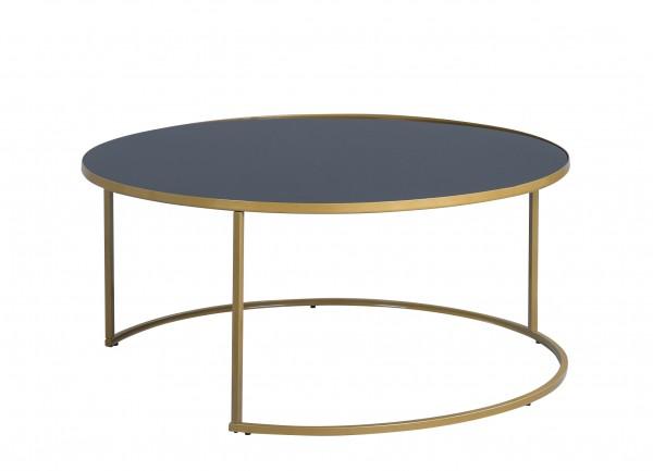 """Couchtisch """"Makka"""" rund H=43cm D=92cm Platte Glas schwarz Gestell Bronze Wohnzimmertisch"""