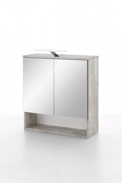 """Spiegelschrank """"Oli"""", Beton / Graphit, 1 Fach, 2 Spiegeltüren, 65 x 79 x 24 cm"""