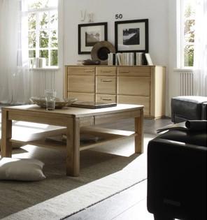"""Couchtisch """"Anriel"""" Tisch m. Stauraum, Eiche Bianco furniert, 115x42x65cm Wohnzimmertisch"""