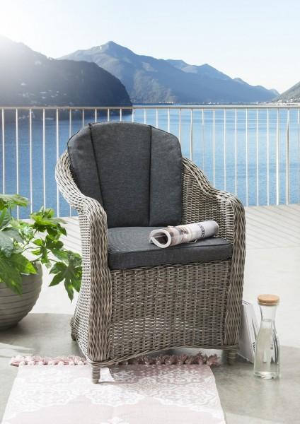 "Sessel ""Tatjana"", vintage grau, 60 x 70 x 85 cm, mit Polster anthrazit, Gartensessel, Garten, Balkon"