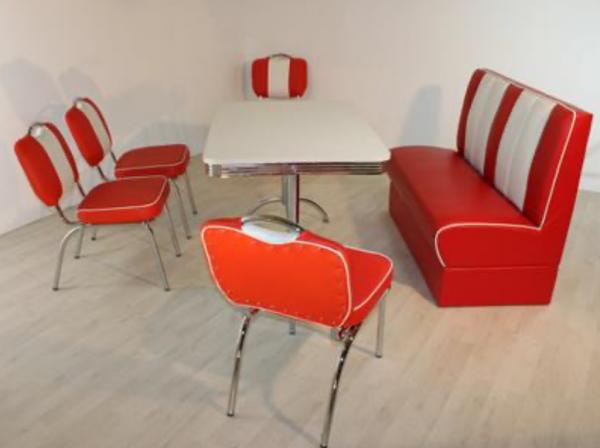 """Tischgruppe Set """"Myst I"""" Diner Set rot/weiss mit Bistrotisch 4xStuhl Polsterbank Essgruppe"""