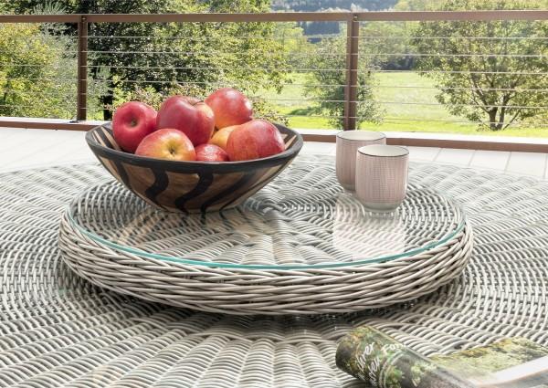 """Drehteller für Tisch """"Honey"""", vintage weiß, 55 Ø x 8,5 cm, mit Glasplatte, Tischzubehör, Garten"""