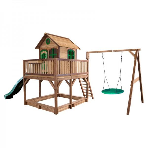 """Holzspielhaus """"Leon VI"""" 277x613x291cm, braun-grün, Rutsche grün+Sandkasten+Nestschaukel"""