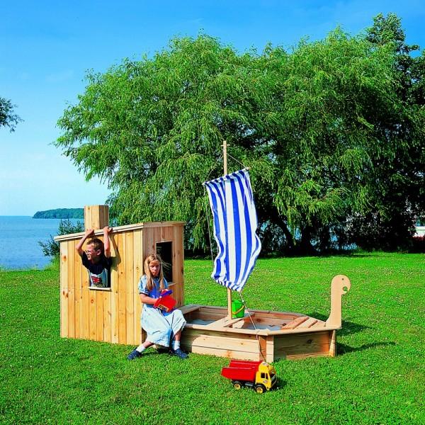 """Sandkasten """"Big Skipper"""" Kiefer, 291 x 116 x 222 cm, Bootsandkasten, Garten, Spielzeug, Spielboot"""