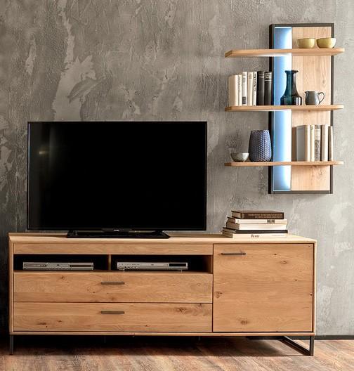 """Lowboard """"Piet"""" Board gedämpfte Türen, Eiche Bianco NB, 184x67x50cm, Fernsehschrank"""