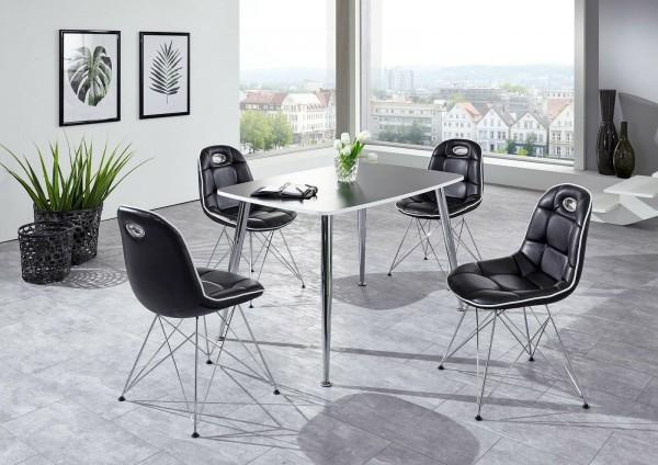 """Tischgruppe Set """"Ambrosia VI"""" 4 Stühle Lederoptik schwarz/ Vierfusstisch schwarz Essgruppe"""