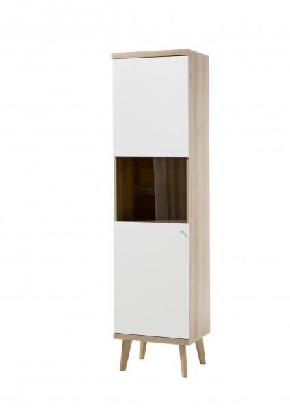 """Vitrine """"Scandic"""", Eiche Riviera NB/weiß matt, 50 x 197 x 40 cm, Wohnzimmer, Schrank, Möbel"""