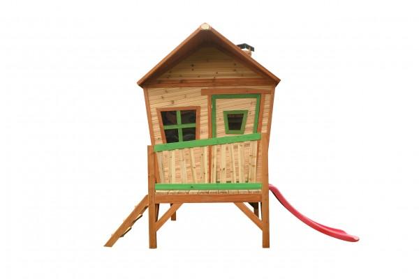 """Holzspielhaus """"Vibke"""" mit Veranda + Leiter + Rutsche 193x287x226cm aus Zedernholz in braun"""