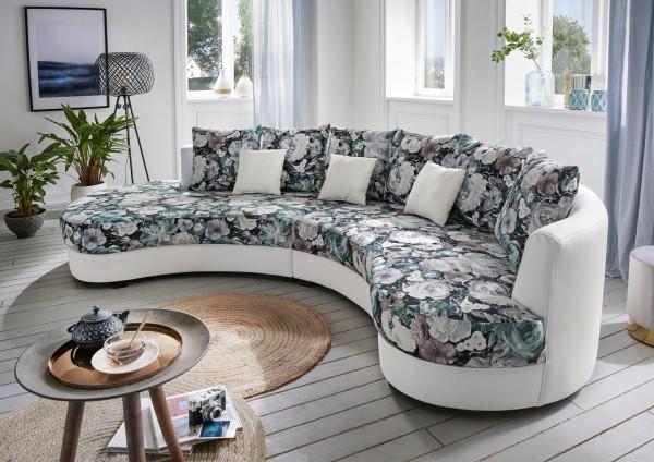"""Nierensofa """"Madeleine"""" Blumenmuster weiß 306 x 74 x 183 cm (B/H/T) Sofa mit Zierkissen"""
