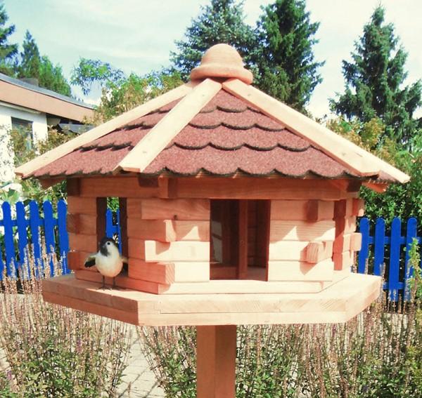 """Vogelhaus """"Merle"""" Holzkasten imprägniert honigbraun 38x59x59cm Vogelhäuschen"""