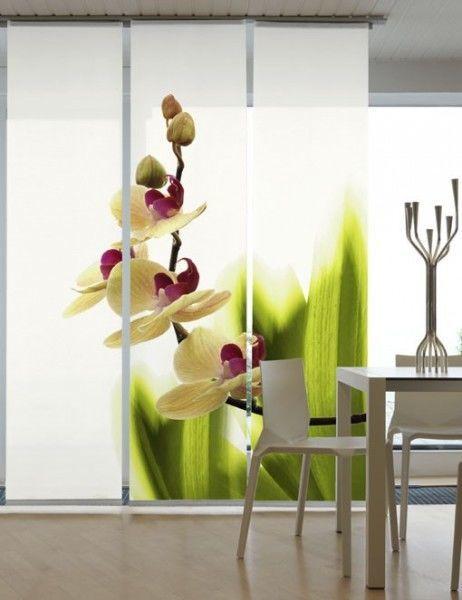 emotion textiles fl chenvorhang 3er set schiebevorhang orchideenwunder inkl montagesatz. Black Bedroom Furniture Sets. Home Design Ideas