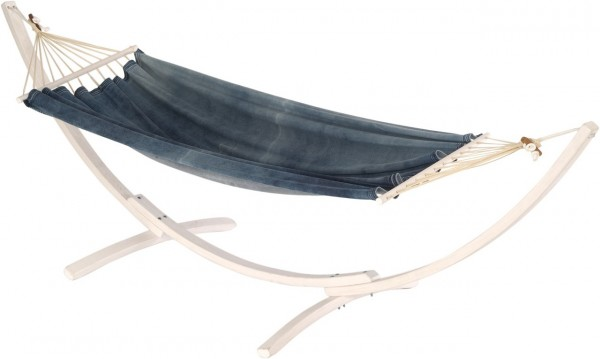 "Hängematten Set ""Paros"" Jobek Holzgestell Hängematte jeansblaue Batikoptik Belastbar 120 kg"