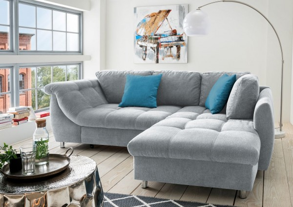 "Ecksofa ""Camille"" grau blau 250 x 190 x 84 cm (B/H/T) Wellenunterfederung inkl. Zierkissen Sofa"