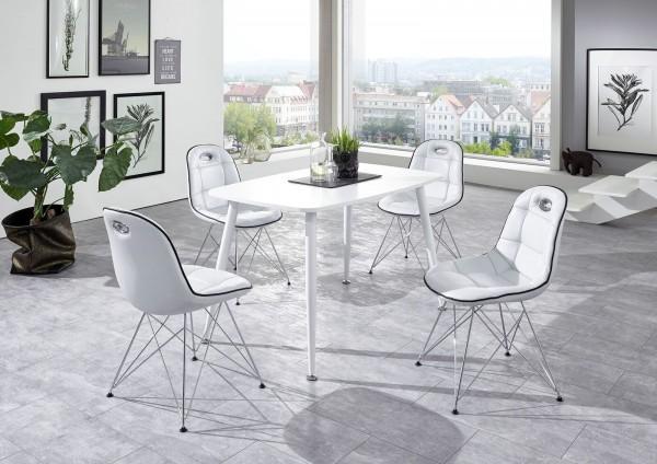 """Tischgruppe Set """"Ambrosia I"""" 4 Stühle Lederoptik Weiss/ Vierfusstisch Weiss Essgruppe"""