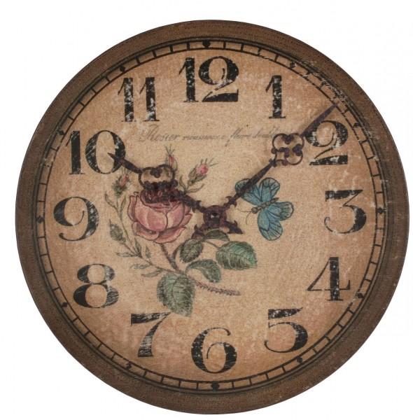 "Wanduhr Quartzuhr ""Antik Rose"", Holz, antik Druck, Shabby Style, Küche, Esszimmer, Ø /T 29x4cm"