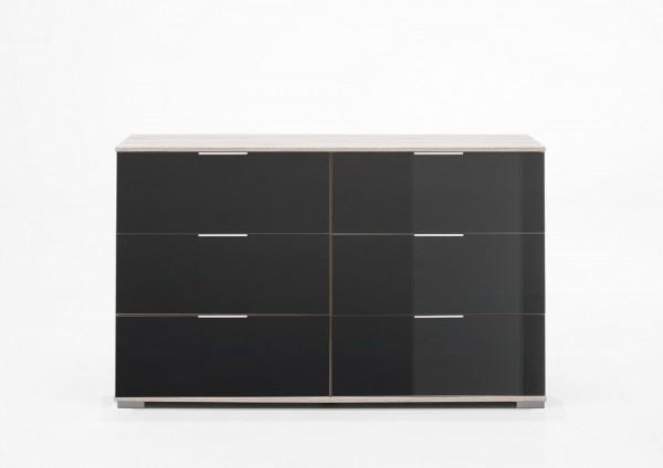 """Schubkastenkommode """"Olha 3"""" Weißeiche NB+Glas grau (6xSchubkästen) 130x83x41cm Board"""