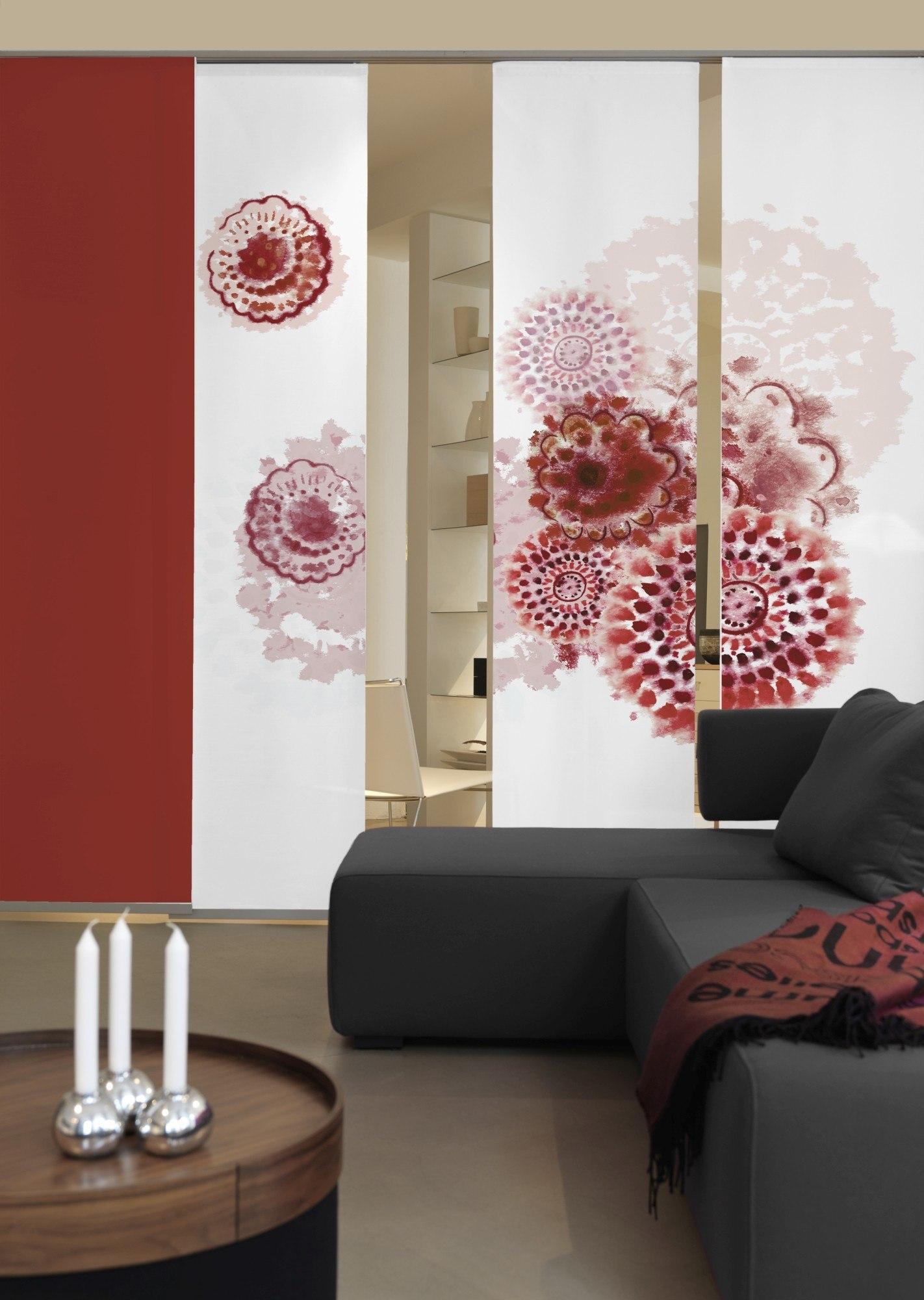 3 teiliger Flächen Schiebevorhang Emotion Textiles Batikblume rot