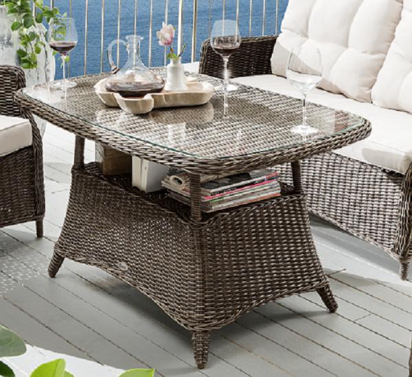 """Tisch """"Sally"""", vintage braun, 120 x 72 x 67 cm, mit Glasplatte, Gartentisch, Balkontisch, Garten"""