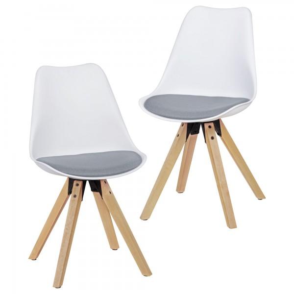 "2er Set Stuhl ""Sola IV"" Rubberwood 48x89x42cm Küchenstuhl Esszimmerstuhl"