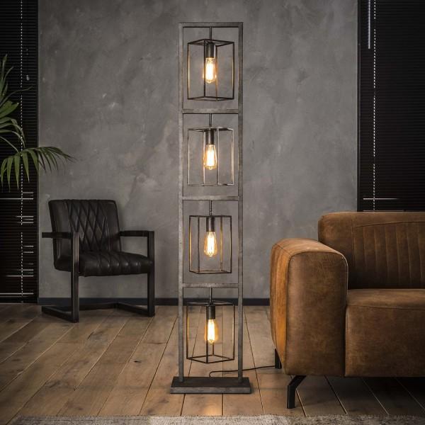 """Stehlampe """"Gondo"""" Metallampe Silber rechteckig 24x34x160cm (B/T/H) Style Zijlstra"""