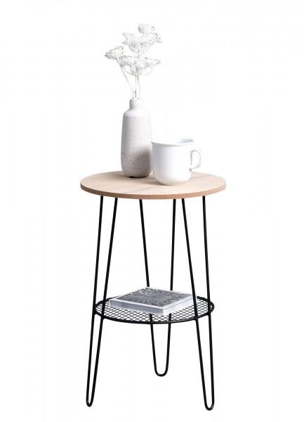 "Beistelltisch ""Moni"" Echtholzfurnier Gestell Metall schwarz H=42cm D=30cm Tisch"