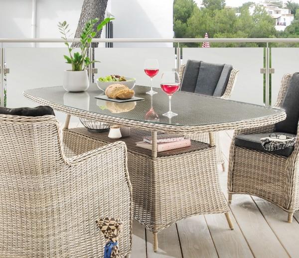 """Tisch """"Honey"""", vintage weiß, halboval, 180 x 100 x 75 cm, mit Glasplatte, Gartentisch, Garten"""
