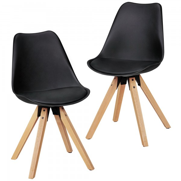"2er Set Stuhl ""Sola"" Holzstuhl Rubberwood 48x89x42cm Küchenstuhl Esszimmerstuhl"