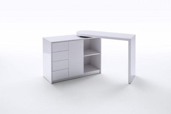 """Kombi-Schreibtisch """"Cosimo"""", Hochglanz weiß, 108x77x42 cm"""