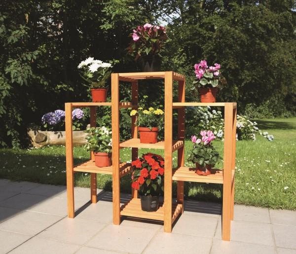 """Blumen-Etagere """"Linda"""" , Kiefer, honigbraun, 98 x 32 x 88 cm, Blumendekoration, Gartendeko, Garten"""