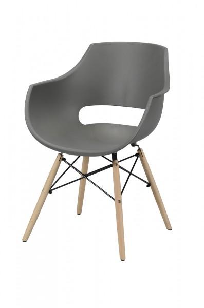 "Zijlstra 3643-48 grau Schalensitz Kunststoff groß VPE 4 4er Set Schalensitz ""Enola"" grau Buchenholz 57x62x81cm (B/T/H) Holzgestell Schalenstuhl Stuhl"