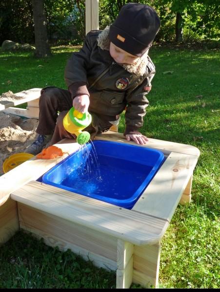 """Matschbox """"Charly"""", Kiefer, natur, 57 x 47 x 22 cm, für Sandkasten, Wasserspielbox, Garten"""