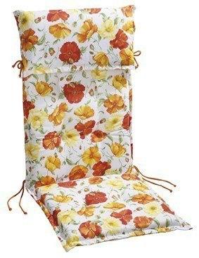 """Stehsaumauflage Sesselauflage """"Daisy"""" für Hochlehner 8cm mit Kopfpolster, 120x50x8 cm,"""