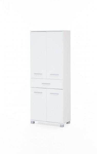 """Badezimmerschrank """"Judy 5"""", 60 x 160 x 32 cm, weiß, 4 Türen, 1 Schublade"""