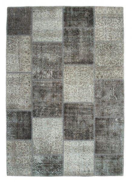 """Beauty.Scouts Patchworkteppich """"Vintage Argento"""", silber, handgeknüpft 80x150cm, 120x170 cm, 160x230 cm, 200x290 cm"""