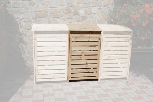 """Erweiterung für die Doppelmülltonnenbox """"Sabrina"""" natur Kiefernmassivholz 92x70x122cm Mülltonnenaufbewahrung"""
