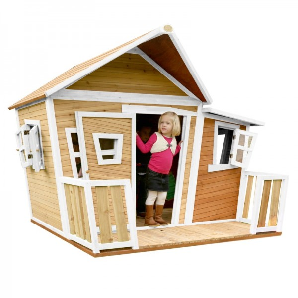 """Holzspielhaus mit Veranda """"Sten I"""" Holz braun-weiß 193x220x174cm Spielhaus Kinderhaus"""