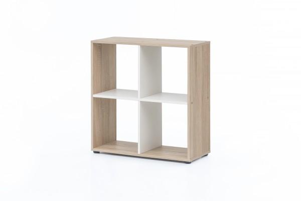 """Regal / Raumteiler """"Amadeus"""", Eiche sägerau/weiß, 70 x 72,5 x 29 cm, 4 Fächer, Wohnzimmer, Regal"""