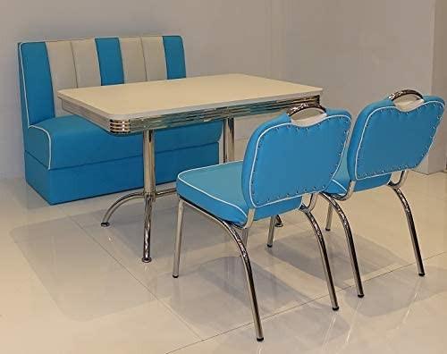 """Tischgruppe Set """"Myst V"""" Diner Set blau/weiss mit Bistrotisch 2xStuhl Polsterbank Essgruppe"""
