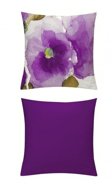 Kissenhülle Aquarell Mohn violett