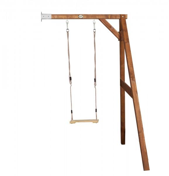 """Einzelschaukel zur Wandbefestigung """"Eden"""" Hemlock-Holz in braun 160x171x207cm"""
