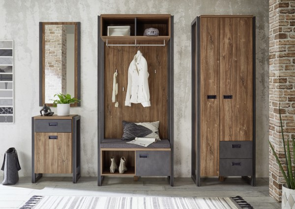 "Garderoben Set ""Java Living I"" 4-teiliges Set, Stirling Oak Nachbildung, 234(214)x202x35-45cm"