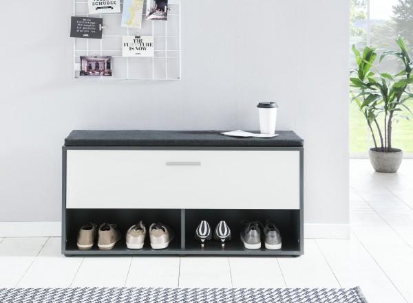 """Schuhregal """"Antonio 2"""", graphit/weiß, 103,5 x 54 x 30 cm, mit Klappe, mit Sitzpolster graphit"""